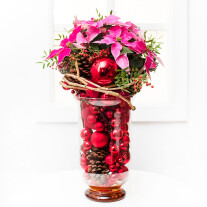 Christmas Arrangement in Glass Vase