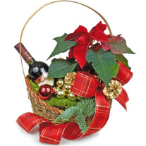 Christmas basket with wine